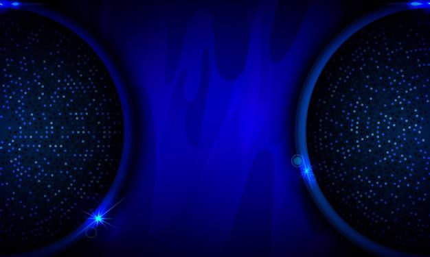 Cerchio blu incandescente su sfondo astratto scuro