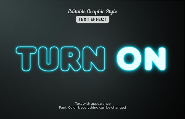 Luce blu incandescente, effetto di testo in stile grafico modificabile