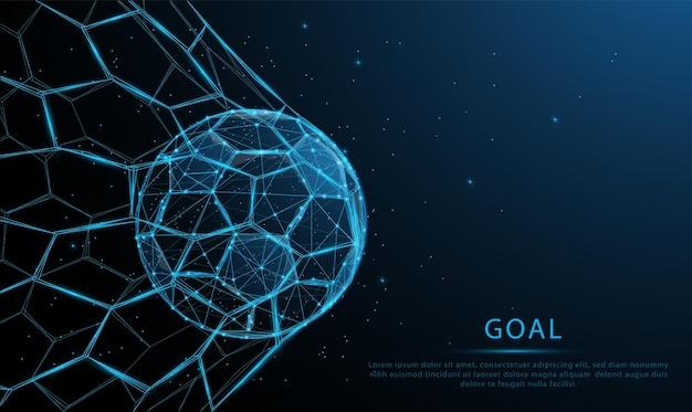 Pallone da calcio blu brillante nell'obiettivo particelle poligonali basse e design in stile leggero wireframe