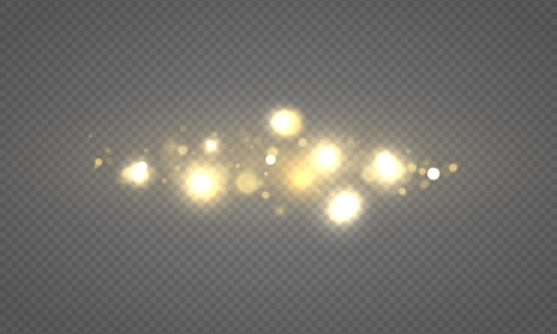 Le luci incandescenti del bokeh che splendono le particelle del sole delle stelle scintille con la polvere di natale dell'effetto del chiarore dell'obiettivo