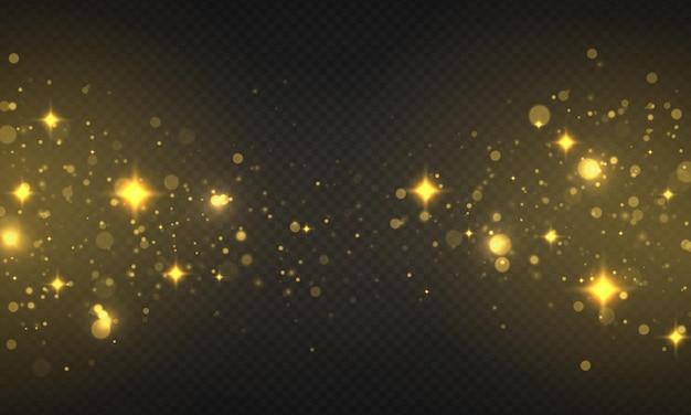 Le luci incandescenti del bokeh che brillano le particelle di sole delle stelle scintille con la polvere di natale effetto riflesso lente