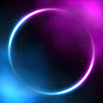 Cornice di illuminazione al neon cerchio incandescente sfondo futuristico con fumo vector illustration