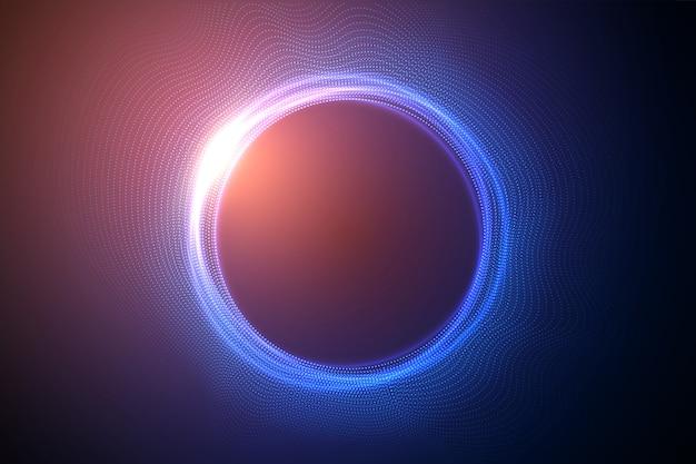 Cerchi luminosi da punti con effetto di profondità di campo. buco nero, sfera, cerchio. musica, scienza, sfondo di particelle di tecnologia.