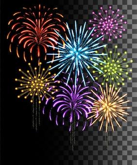 Collezione incandescente. fuochi d'artificio colorati, effetti di luce isolati su sfondo trasparente.
