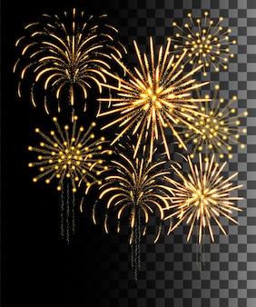 Collezione incandescente. fuochi d'artificio d'oro, effetti di luce isolati su sfondo trasparente.