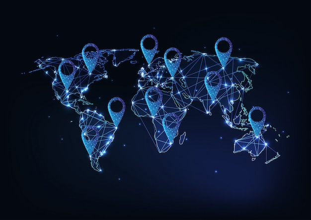 Mappa di terra incandescente con segnali di posizione gps