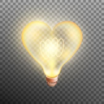 Cuore della lampada incandescente isolato su sfondo trasparente.