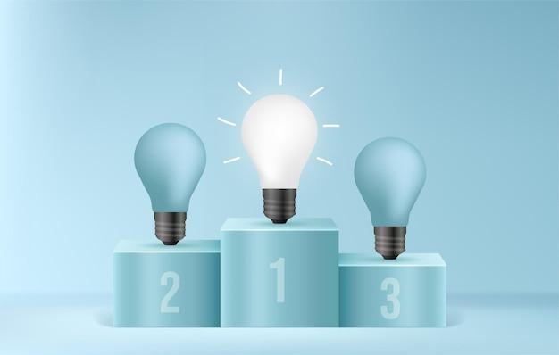 Podio del vincitore della lampadina incandescente sulla scena minima concorso di idee di business di concetto di efficienza energetica sostenibile