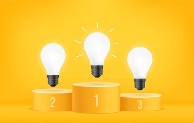 Lampadine incandescenti sul podio del vincitore, concetto di efficienza energetica sostenibile, leadership della strategia aziendale e gestione su sfondo giallo