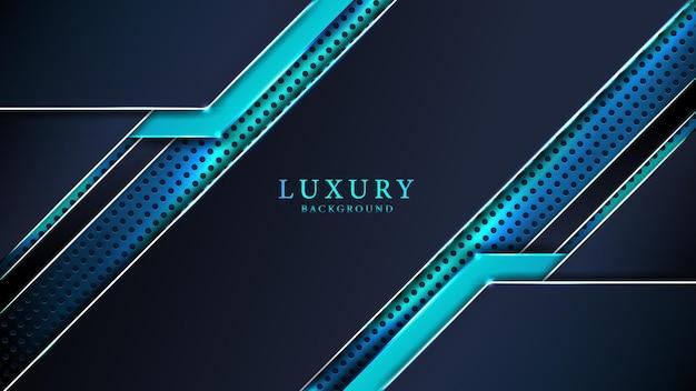 Effetto luce incandescente astratto sfondo di lusso blu con forme creative