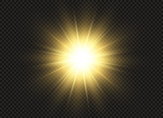 La luce incandescente esplode su uno sfondo trasparente. stella luminosa. sole splendente trasparente, lampo luminoso.