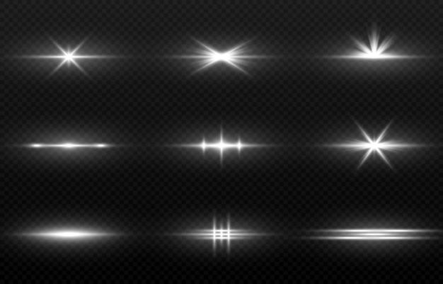 Linee di luce incandescente set di splendore magico