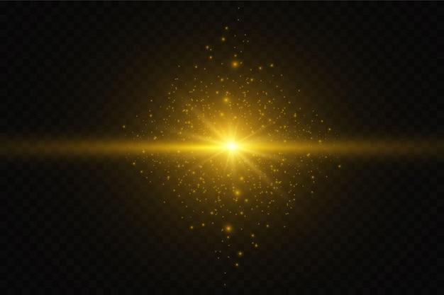 Stella di luce incandescente con scintillii. effetto luce dorata. illustrazione