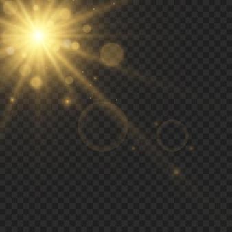 Stella di luce incandescente con scintillii su sfondo trasparente