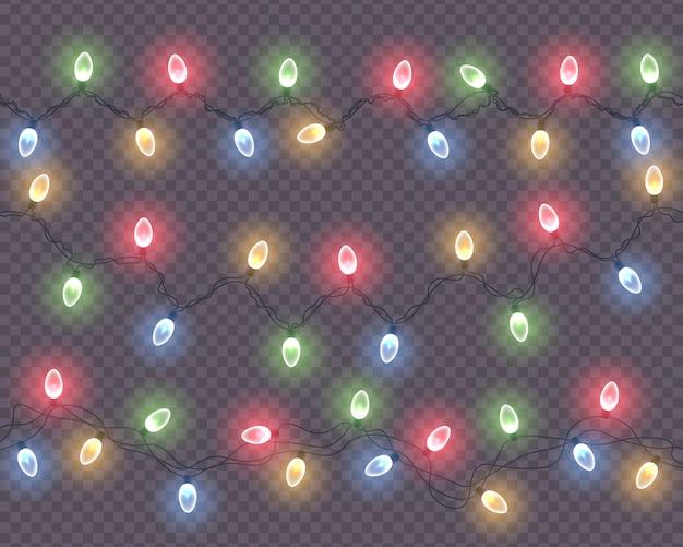 Incandescente luci di natale su sfondo trasparente