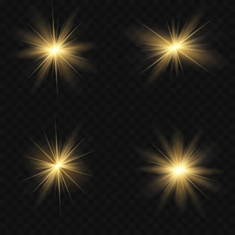Effetto di luci incandescenti, bagliori, esplosioni e stelle. effetto speciale isolato su sfondo trasparente. illustrazione vettoriale eps 10
