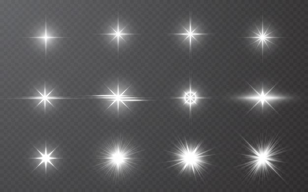 Effetto di luci incandescenti su bakground trasparente. raggi luminosi astratti del chiarore.