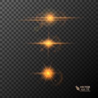 Luci incandescenti e stelle isolate su sfondo nero trasparente