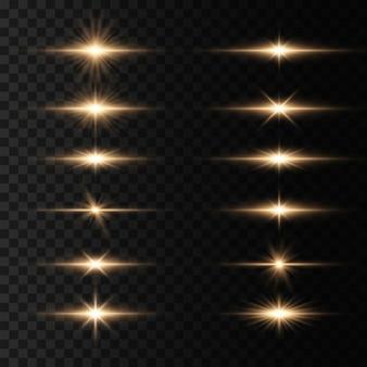 Luci incandescenti e stelle isolate su sfondo trasparente. set di luce esplode. la stella luminosa brilla.
