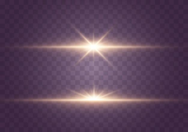 Luci e stelle incandescenti. isolato su sfondo trasparente set di luce esplode. particelle di polvere magica scintillante. stella luminosa, scintillii sole splendente trasparente, flash effetto luce