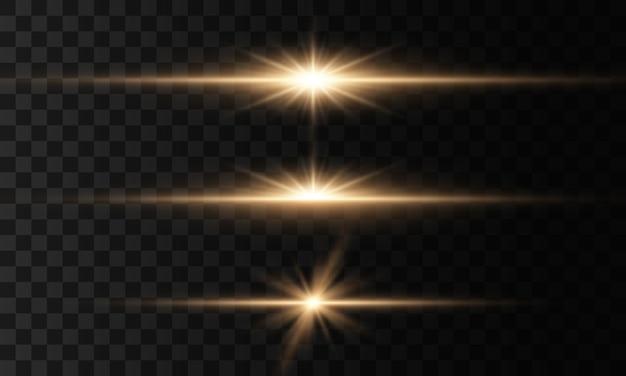 Luci e stelle incandescenti. isolato su sfondo trasparente set di luce esplode. particelle di polvere magica scintillante.