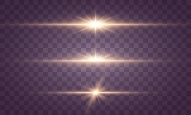 Luci e stelle incandescenti. la luce esplode, brilla.
