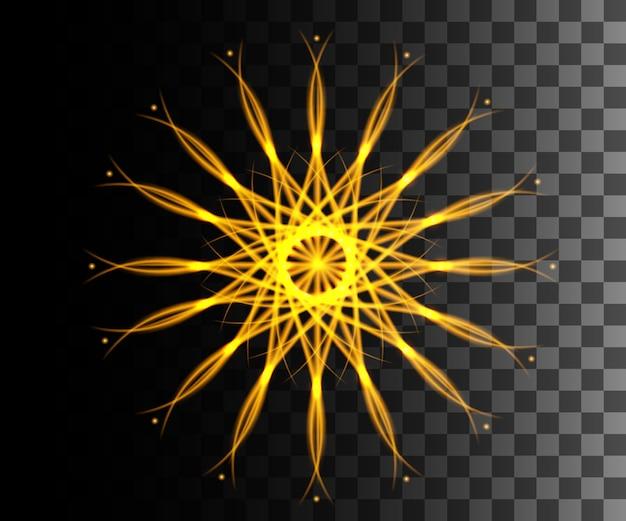 Effetto astratto linea incandescente effetto luce stella dorata