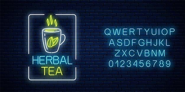 Incandescente tazza al neon di tisana segno in cornice rettangolare con alfabeto. tazza di tè verde con foglie