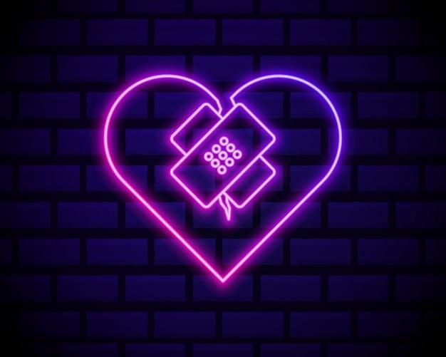 Linea al neon incandescente cuore spezzato guarito. cuore spezzato e rattoppato. simbolo dell'amore.