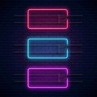 Incandescente cornici rettangolari al neon. set di banner di luce al neon. bordi luminosi realistici per spazio vuoto.