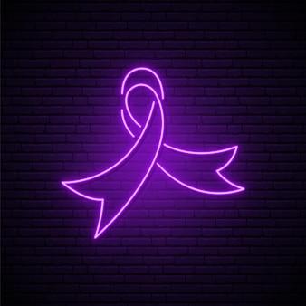 Insegna al neon incandescente della giornata mondiale del cancro
