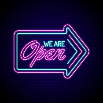Neon incandescente siamo segno aperto Vettore Premium