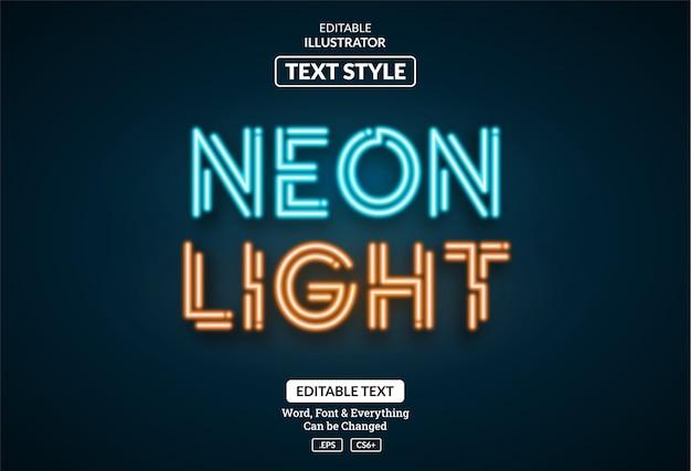 Incandescente luce al neon blu arancione, effetto di testo modificabile