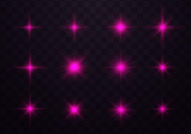 Effetti di luce viola, rosa incandescente, flash, scintille e stelle
