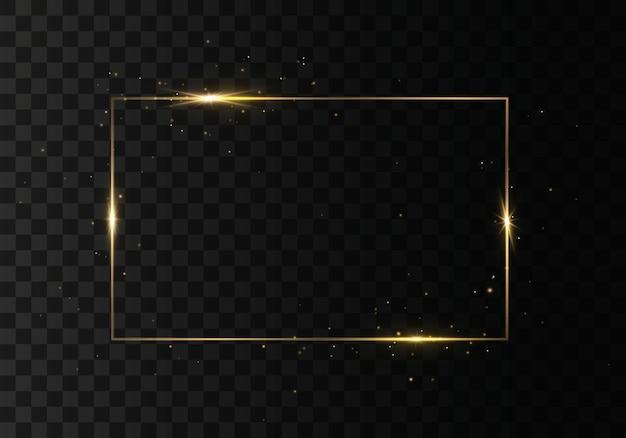 Cornice rettangolare incandescente con effetti di luci. bordo rettangolo di lusso dorato.