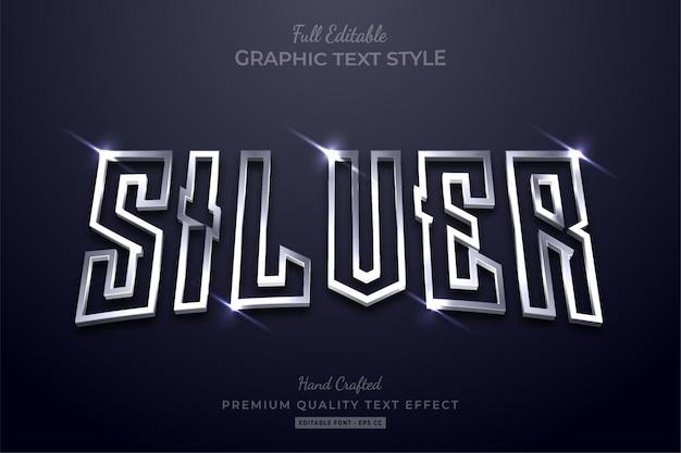 Stile carattere effetto testo modificabile argento incandescente