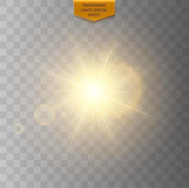 Sole stellato incandescente con raggi effetto luce incandescente dorato isolato su sfondo trasparente flash solare con raggi e riflettore bagliore effetto luce starburst con scintillii