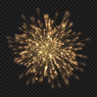 Esplosione di starburst incandescente con scintillii e raggi