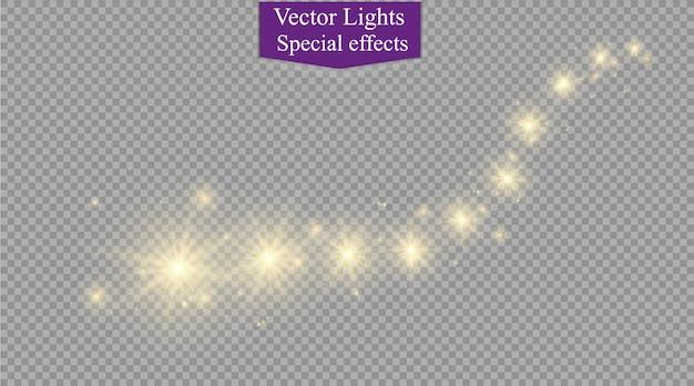 Stelle, luci e scintillii luminosi. effetti trasparenti