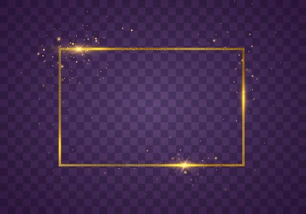 Cornice dorata vintage incandescente con ombre isolate su sfondo trasparente. cornice rettangolare con effetti di luci. bordo rettangolo realistico di lusso dorato.