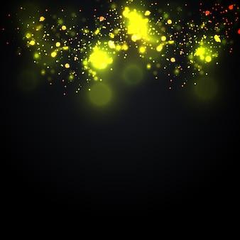Il bokeh giallo incandescente circonda il fondo di lusso dell'oro astratto