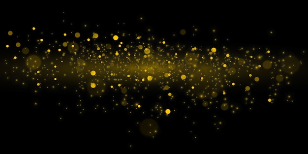 Cerchi gialli incandescenti del bokeh, decorazione scintillante del fondo dell'oro dell'estratto della polvere dorata