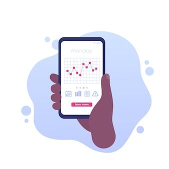 Grafico dei livelli di glucosio nell'app mobile, vettore