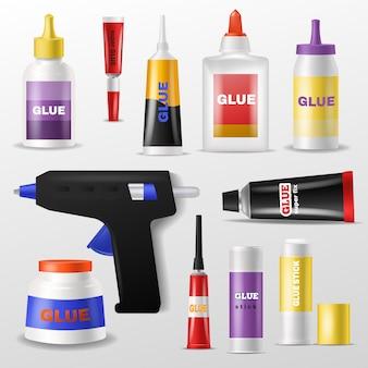 Colla vettoriale gluestick e gluely liquido in bottiglia o tubo di plastica per incollare carta illustrazione set di supercolla per fissaggio isolato