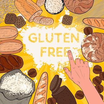 Sfondo senza glutine con farina, pane, dolci e prodotti da forno. pop art