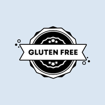 Icona del distintivo senza glutine in piano. vettore. icone del timbro senza glutine. logo distintivo certificato. modello di timbro. etichetta, adesivo, icone. vettore eps 10. isolato su sfondo