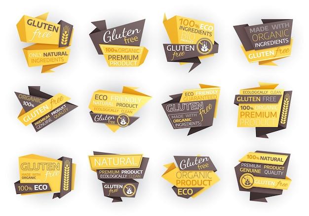 Etichette alimentari ecologiche senza glutine, etichette di prodotti naturali biologici o emblemi