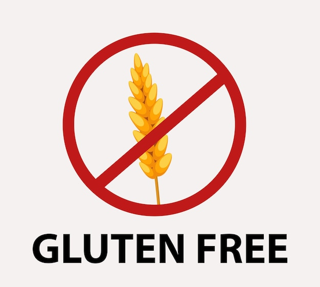 Segnale di divieto rosso senza glutine. icona di grano.