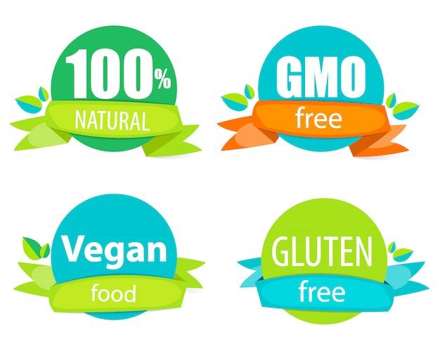 Set di etichette gmo free, natutal, vegan food e glutine