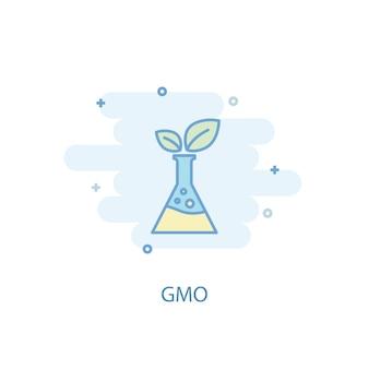 Concetto di linea ogm. icona della linea semplice, illustrazione colorata. design piatto simbolo ogm. può essere utilizzato per ui/ux